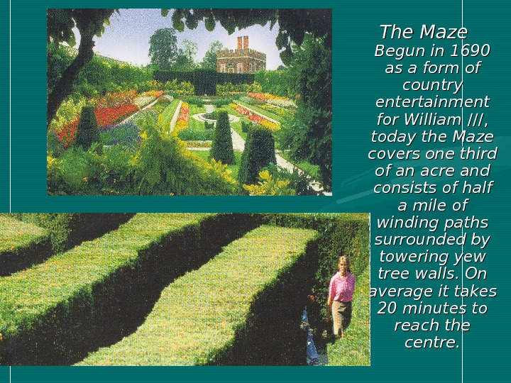 The Maze Begun in 1690 as a form of country entertainment for William //////