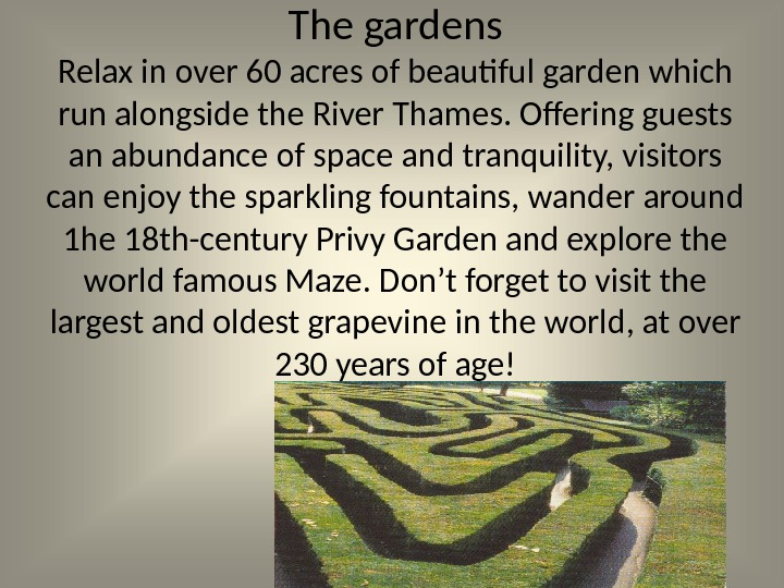 The gardens Relax in over 60 acres of beautiful garden which run alongside the River Thames.