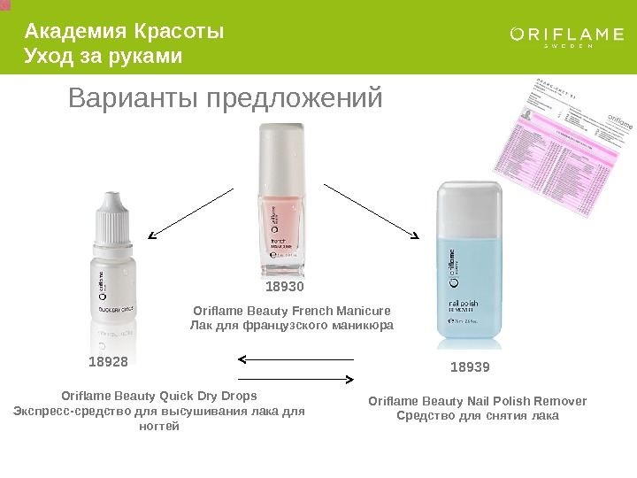 Oriflame Beauty French Manicure Лак для французского маникюра 18930 Oriflame Beauty Quick Dry Drops Экспресс-средство для
