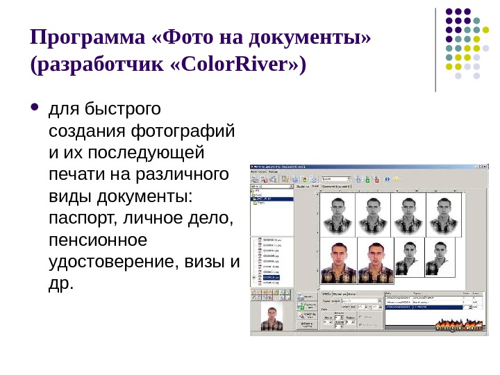 Программа «Фото на документы»  (разработчик «Color. River» ) для быстрого создания фотографий и их последующей