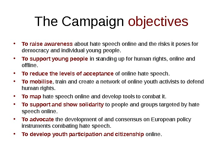 The Campaign objectives • To raise awareness  about hate speech online and the risks it