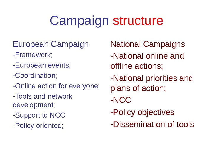 Campaign  structure European Campaign - Framework;  - European events;  - Coordination;  -