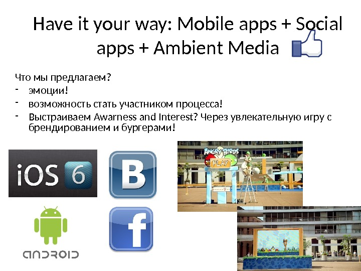 Have it your way: Mobile apps + Social apps + Ambient Media Что мы предлагаем? -