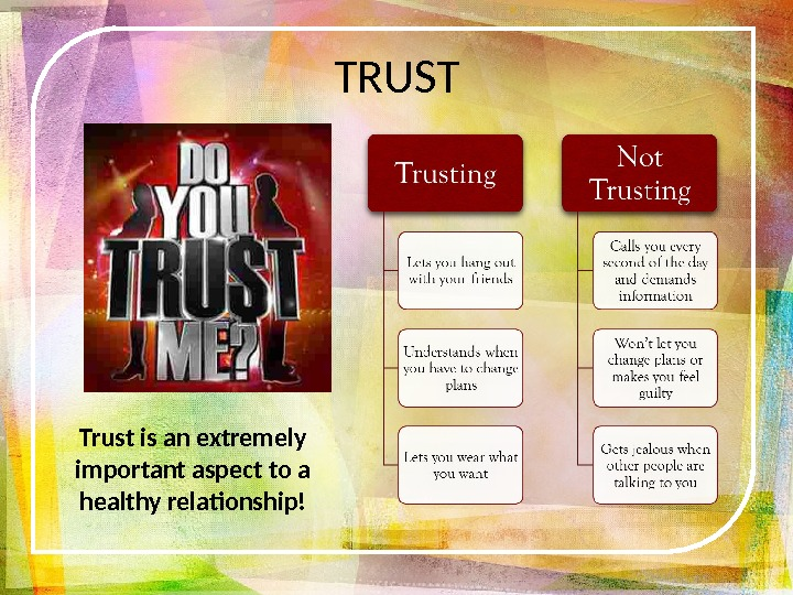 Trust is an extremely important aspect to a healthy relationship! TRUST