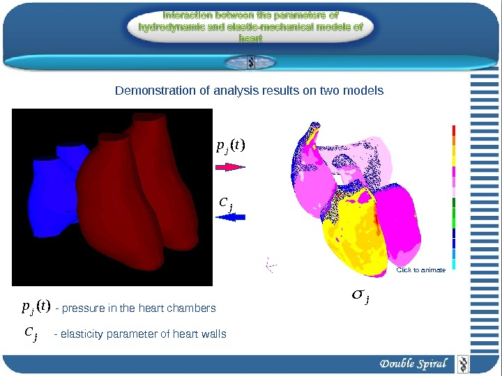( )jp t- pressure in the heart chambers jc jc - elasticity parameter of heart walls