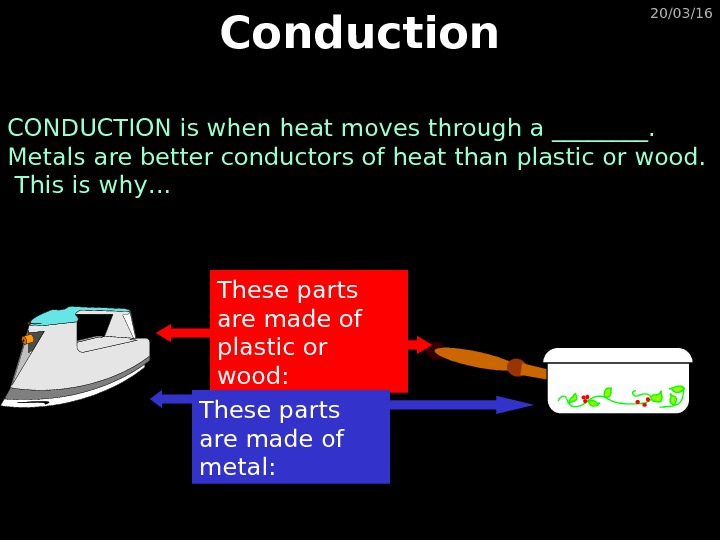 20/03/16 Conduction CONDUCTION is when heat moves through a ____.  Metals are better conductors of
