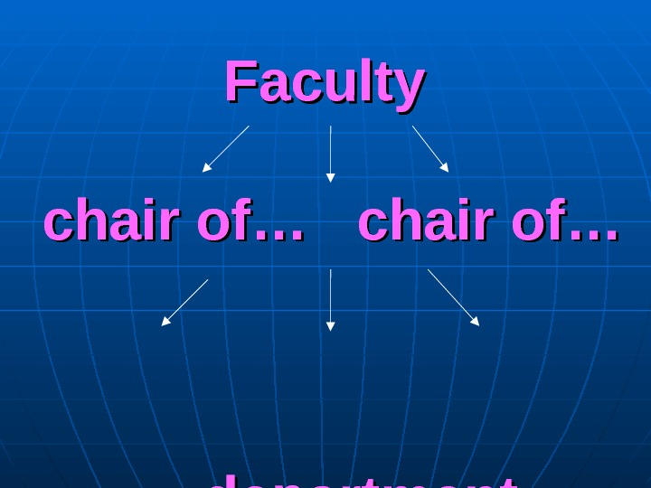 Faculty chair of… … department
