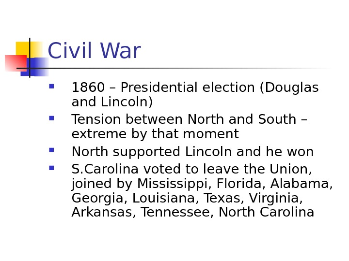 Civil War 1860 – Presidential election (Douglas and Lincoln) Tension between North and South