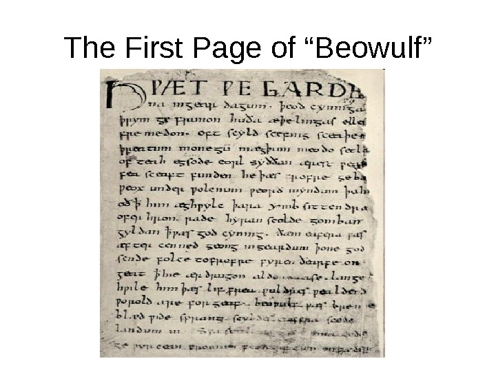 "The First Page of ""Beowulf"""