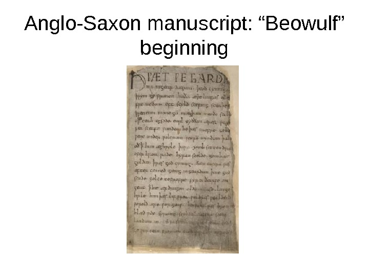 "Anglo-Saxon manuscript: ""Beowulf"" beginning"