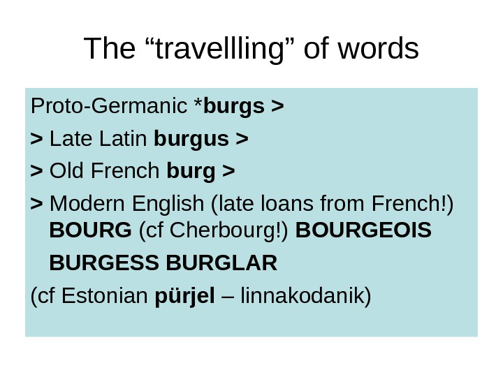 "The ""travellling"" of words Proto-Germanic * burgs   Late Latin burgus"