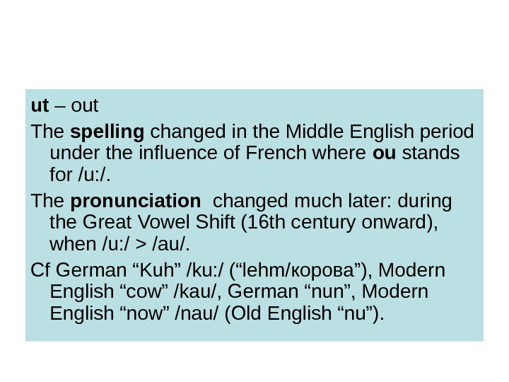 ut – out The spelling changed in the Middle English period under the influence