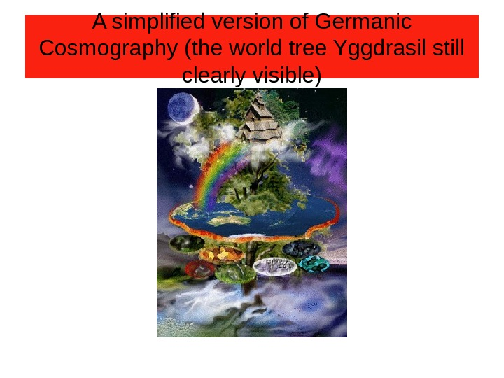 A simplified version of Germanic Cosmography (the world tree Yggdrasil still clearly visible)
