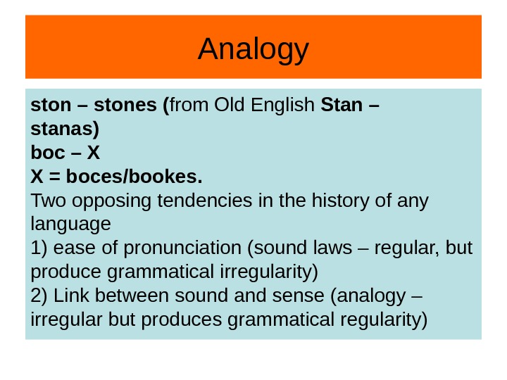 Analogy ston – stones ( from Old English Stan – stanas) boc – X