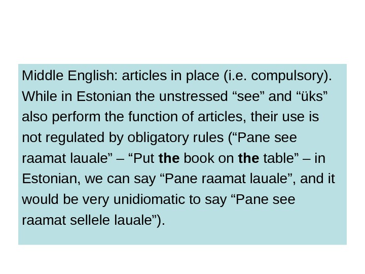 Middle English: articles in place (i. e. compulsory).  While in Estonian the unstressed