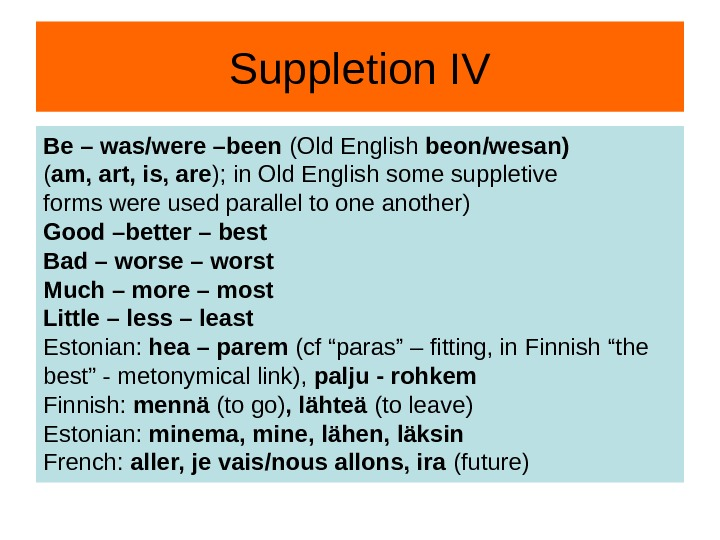 Suppletion IV Be – was/were –been (Old English beon/wesan) ( am, art, is, are