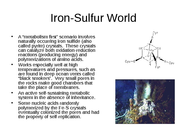 "Iron-Sulfur World • A ""metabolism first"" scenario involves naturally occurring iron sulfide (also called"