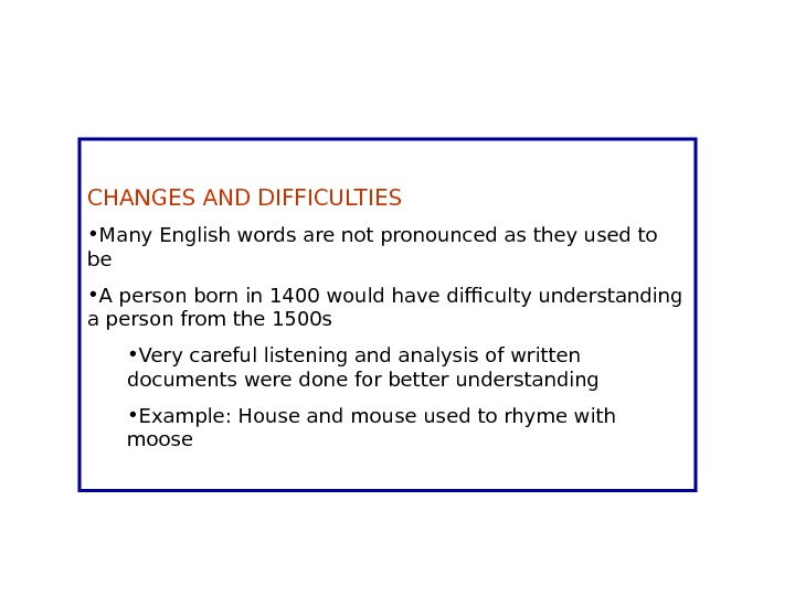 CHANGES AND DIFFICULTIES • Many English words are not pronounced as they used to be •