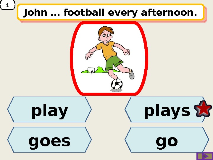 1 John … football every afternoon. play goes plays go 01