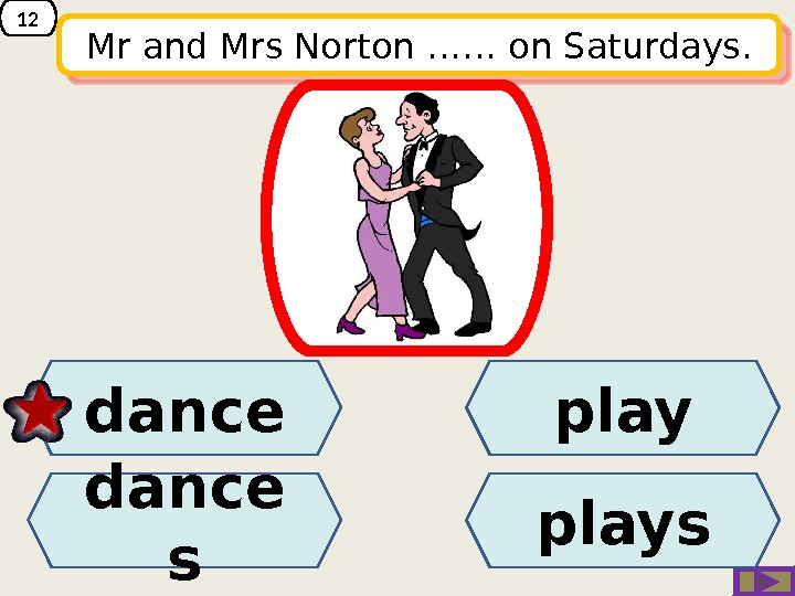 12 Mr and Mrs Norton …… on Saturdays. play dance sdance plays 14