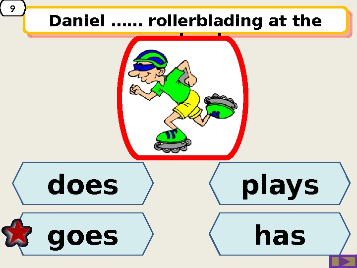 Daniel …… rollerblading at the weekend. playsdoes goes has 9220 A 04 17