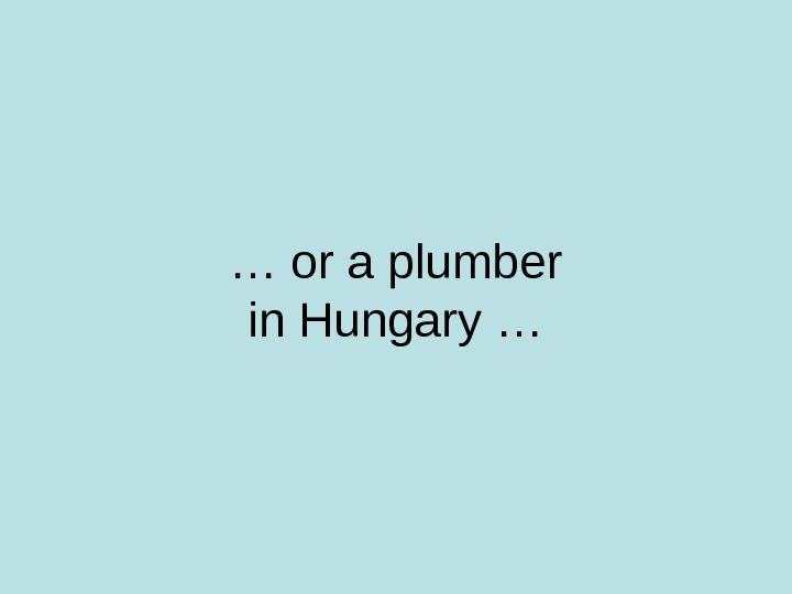 … or a plumber in Hungary …
