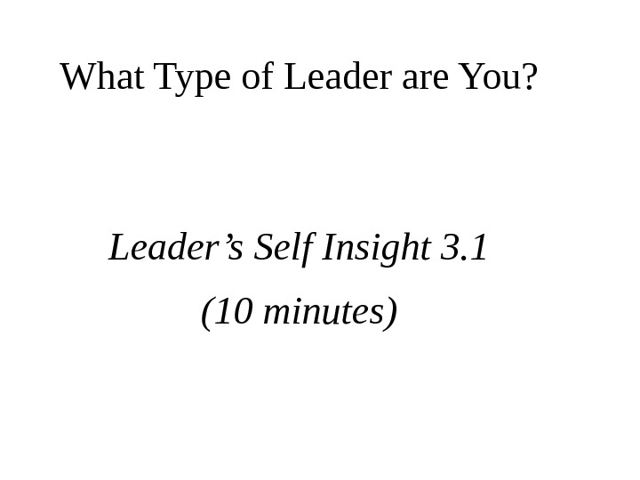 What Type of Leader are You? Leader's Self Insight 3. 1 (10 minutes)
