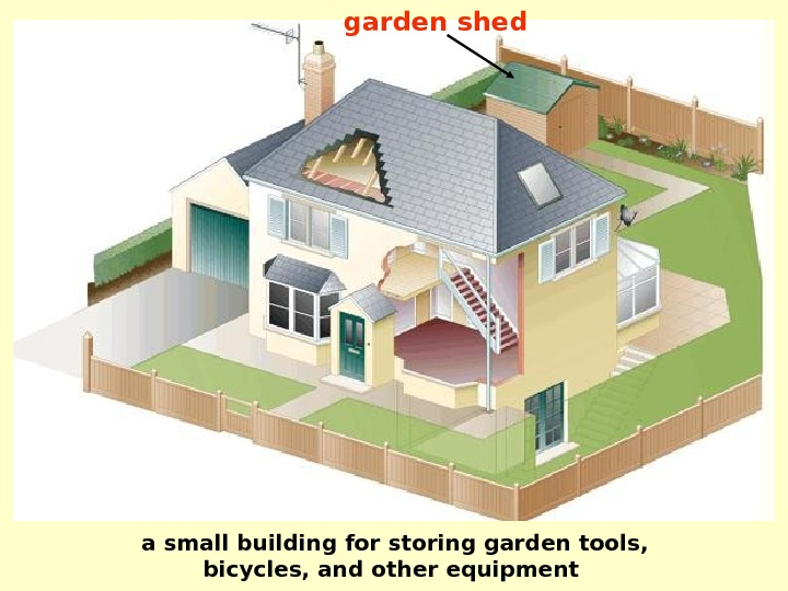 garden shed a small building for storing garden tools, bicycles, and other equipment