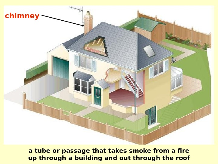 chimney a tube or passage that takes smoke from a fire up through a