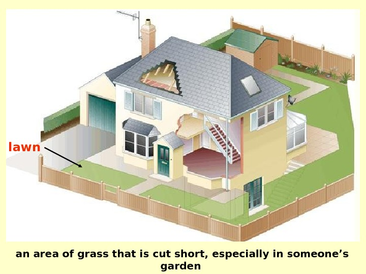 an area of grass that is cut short, especially in someone's garden lawn