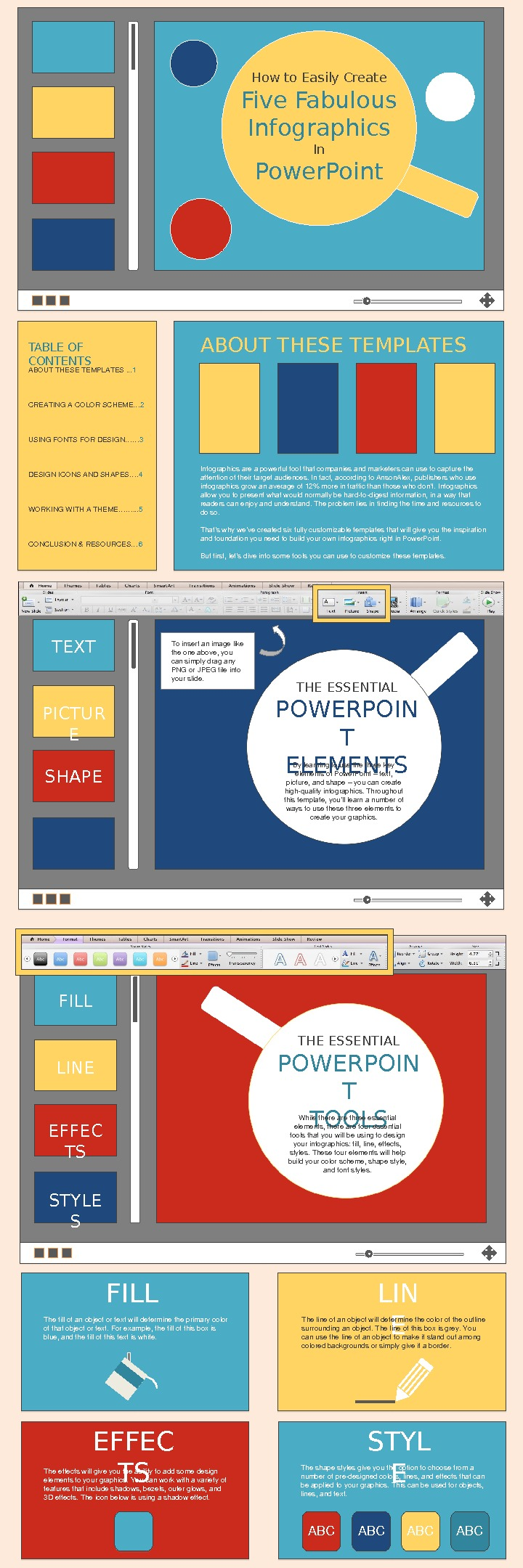How to Easily Create Five Fabulous Infographics In Power. Point TABLE OF CONTENTS ABOUTTHESETEMPLATES. . .