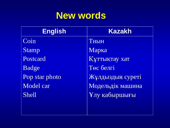New words   English Kazakh Coin  Stamp Postcard Badge Pop star photo Model car