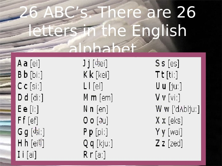 26 ABC's. There are 26 letters in the English alphabet.