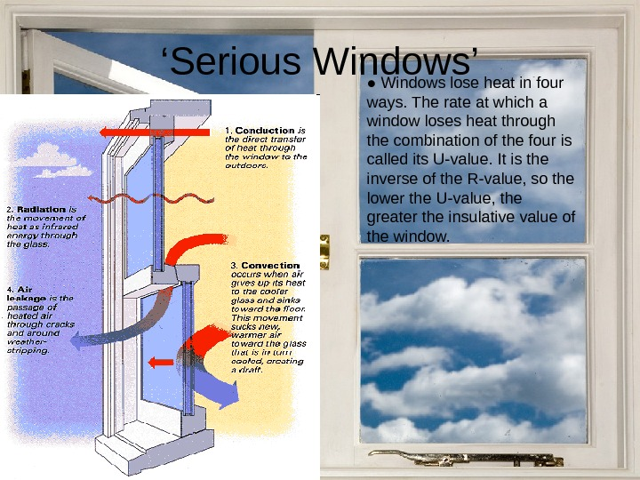 ' Serious Windows' ● Windows lose heat in four ways. The rate at which