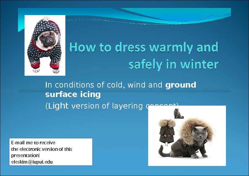 In conditions of cold, wind and ground surface icing (L ight version of layering concept) E-mail