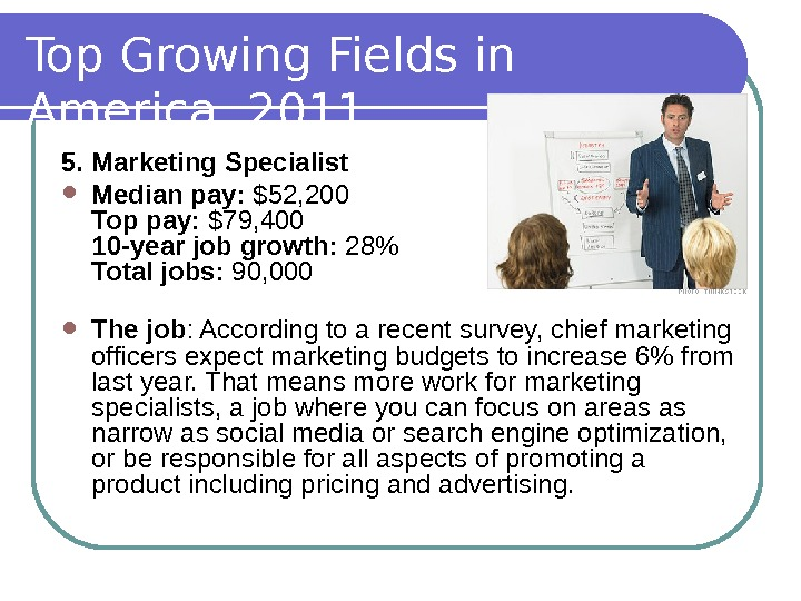 Top Growing Fields in America, 2011 5. Marketing Specialist Median pay:  $52, 200 Top pay: