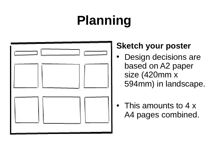 Planning Sketch your poster • Design decisions are based on A 2 paper size (420 mm