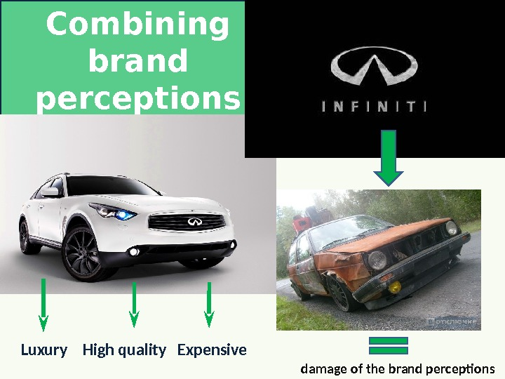 Combining brand perceptions Luxury  High quality  Expensive damage of the brand perceptions
