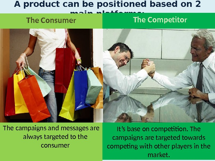 A product can be positioned based on 2 main platforms:   The Competitor It's base