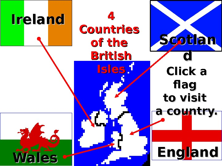 England Wales Scotlan dd 4 4 Countries of the British Isles Click a flag to visit