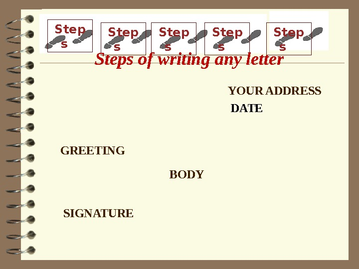 YOUR ADDRESS DATE GREETING BODY SIGNATUREStep s Step s Steps of writing any letter