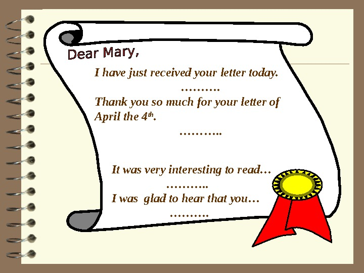 I have just received your letter today. ………. Thank you so much for your letter of