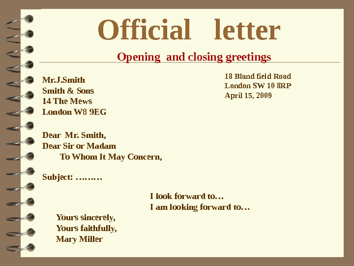Official  letter Mr. J. Smith & Sons 14 The Mews London W 8 9 EG