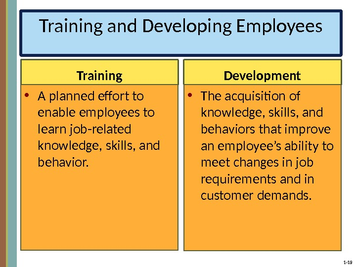 1 - 19 Training and Developing Employees Training • A planned effort to enable employees to