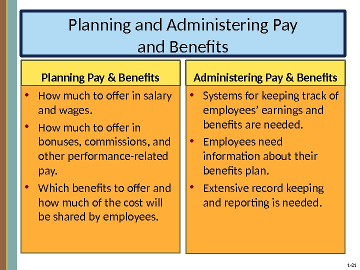 1 - 21 Planning and Administering Pay and Benefits Planning Pay & Benefits • How much