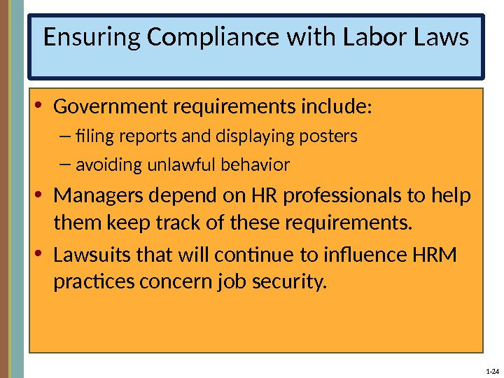 1 - 24 Ensuring Compliance with Labor Laws • Government requirements include: – filing reports and