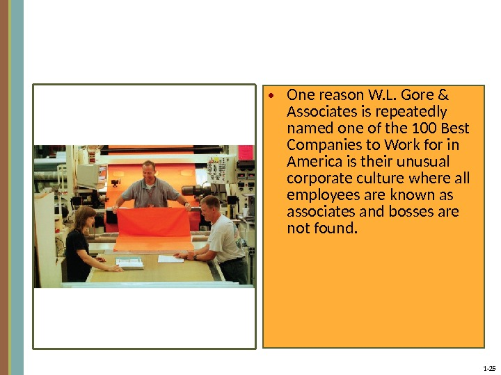 1 - 25 • One reason W. L. Gore & Associates is repeatedly named one of