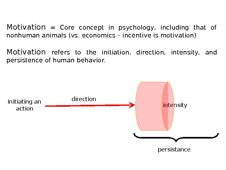 Motivation  = Core concept in psychology,  including that of nonhuman animals (vs. economics –
