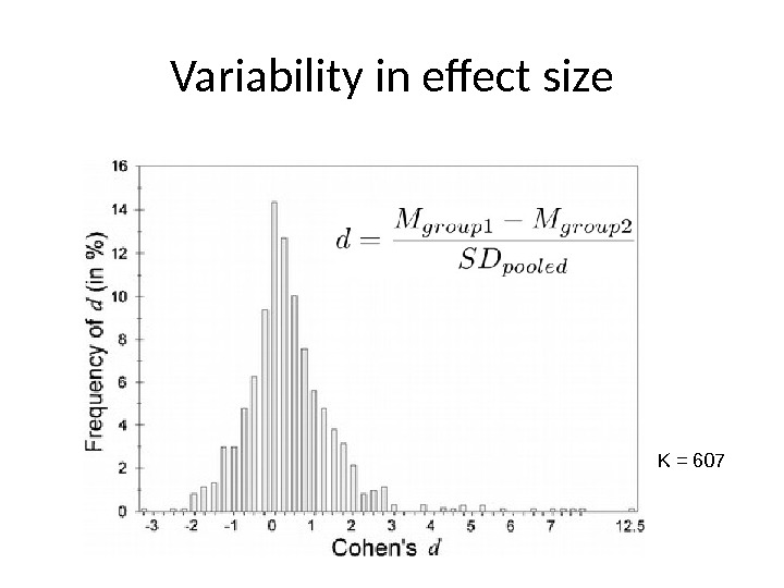 Variability in effect size K = 607