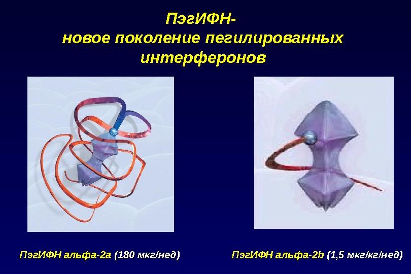 Пэг. ИФН- новое поколение пегилированных интерферонов  Пэг. ИФН альфа-2b (1, 5 мкг/кг/нед)Пэг. ИФН  альфа-2а